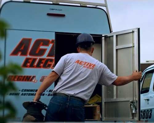 Man Opening van